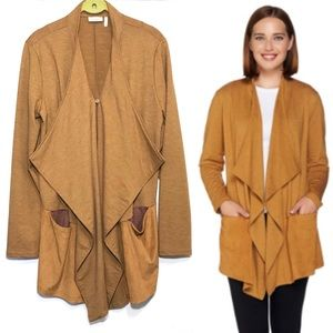 LOGO Lounge cardi with faux suede hem M (371-Ag)